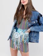 Falda con cinturón de cuentas tornasoladas de Savage Rainbow