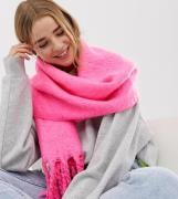 Bufanda lisa de neón en rosa de New Look