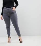 Vaqueros ajustados de talle alto en gris Ridley de ASOS DESIGN Curve