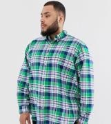 Camisa Oxford con botones y logo de jugador a cuadros en verde Big & T...