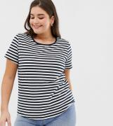 Camiseta con cuello redondo a rayas de ASOS DESIGN Curve